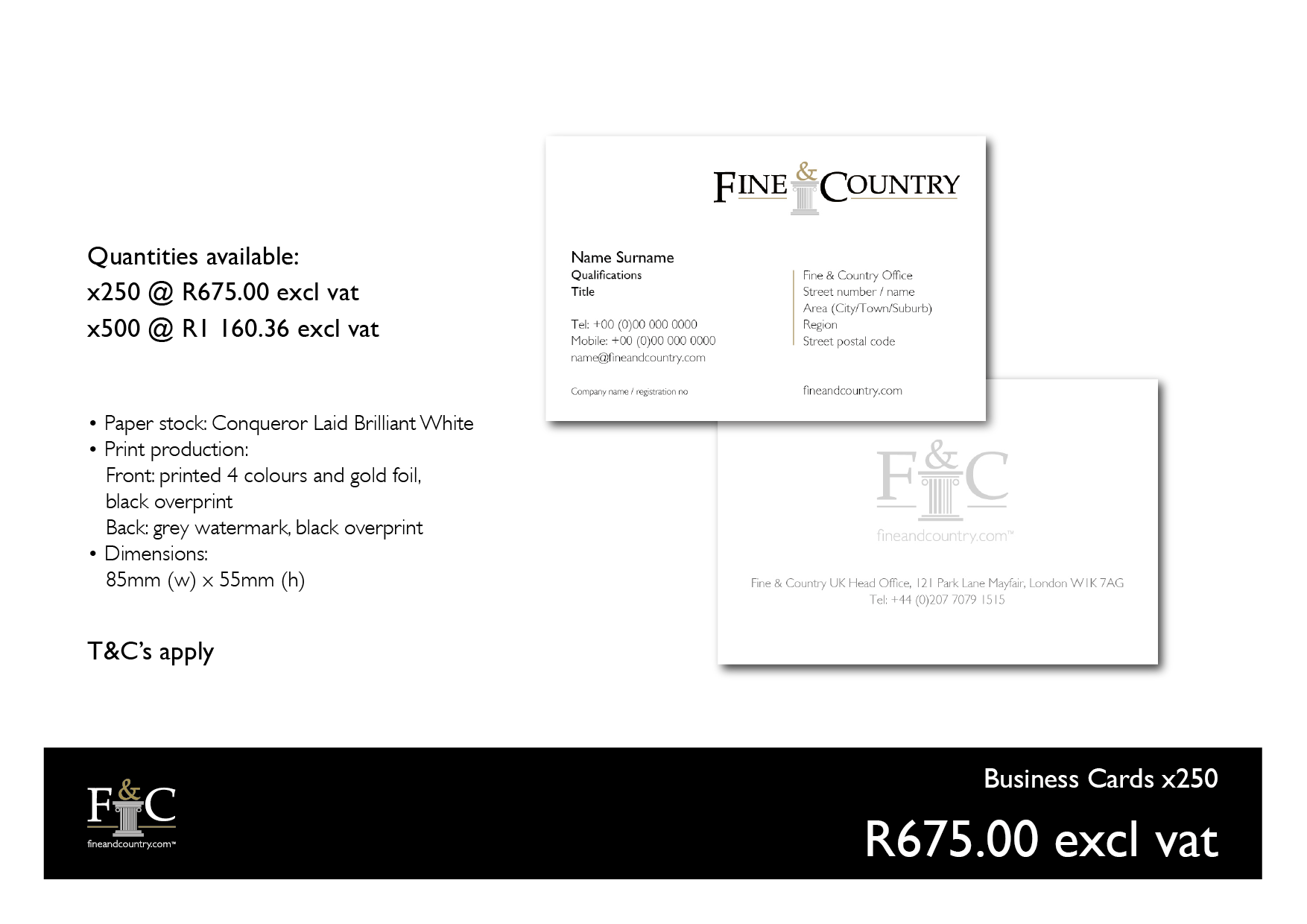 fine and country support desk business cards